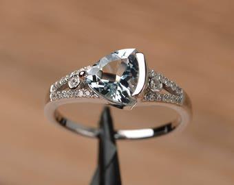 genuine natural aquamarine ring engagement ring trillion cut sterling silver ring March birthstone blue gemstone ring