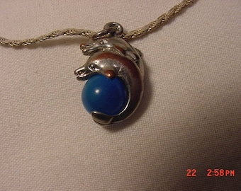 Vintage Italy 925 Dolphin Necklace  18 - 368