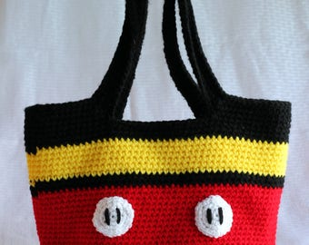 Handmade Crocheted Mickey Mouse Tote Bag