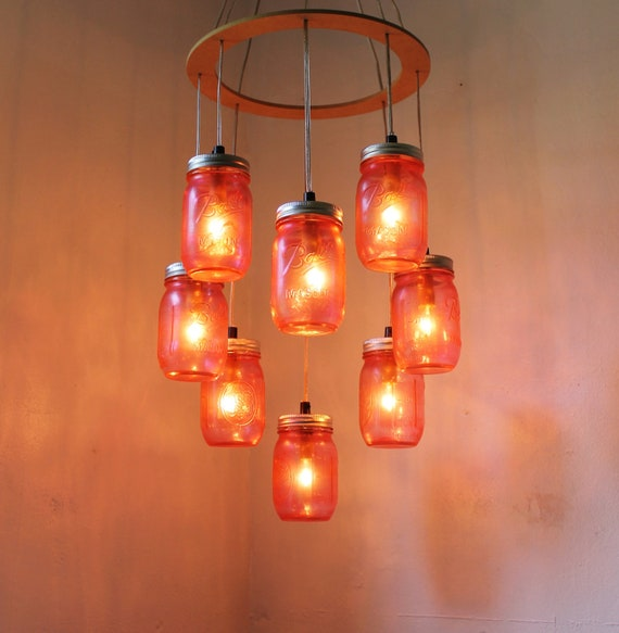 Just Reduced Rustic Handmade 3 Bulb Hanging Light Fixture Or: St. Valentines PINK Heart Shaped Mason Jar Chandelier Rustic