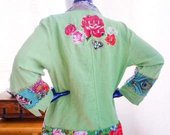 Plus size Green Linen Jacket Embellished Wearable Art XXL Woman flowers embroidery oversize vest mid season patched bohemian artsy French