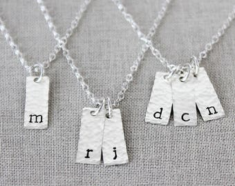 Vertical Initial Bar Necklace, Dainty Personalized Necklace, Tiny Bar Necklace, Sterling Silver Mini Bar Necklace