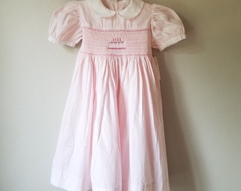 Vintage Girls Pink Dress with Birthday Cake Smocking - Size 4- Gently Worn- Birthday Dress- Peter Pan Collar- Long Dress