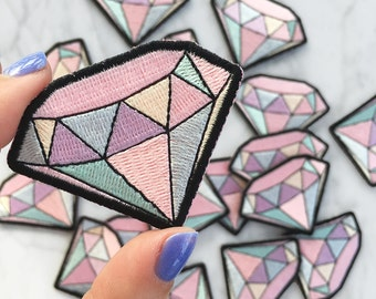Diamond Patch - Iron-On - Embroidered Applique - Pastel - Gemstone