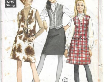 Simplicity 7808 Misses' Blouse, Skirt and Vest Bust 23.5 inch