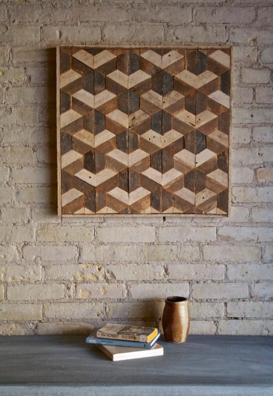 Reclaimed wood wall art decor lath pattern geometric - Wall designs with wood ...