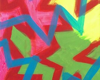 Rose, vert, rouge, jaune et bleu acrylique peinture abstraite sur toile «série 7 Xavier «Home Decor, Art mural, Tenture murale