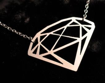 Fake Diamond Necklace in silver stainless steel, Geometric Necklace, Minimalist Jewelry, Geometric Jewelry, Diamond Bride Gift