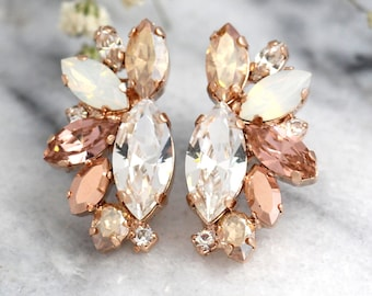 Rose Gold Champagne Cluster Earrings,Blush Bridal Earrings,Bridal Rose Gold Earrings,Bridesmaids Earrings,White Opal Champagne Studs
