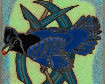 Stellar Jay Ceramic Tile hot plate wall decor install, hand painted
