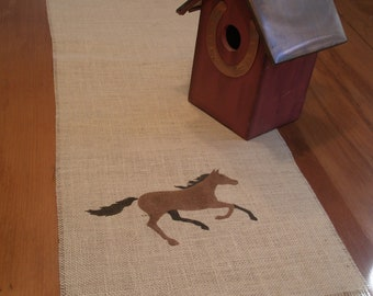 Burlap Table Runner  Horse Motif 52 x12, Farmhouse Runner,Equestrian, Country Decor Runner