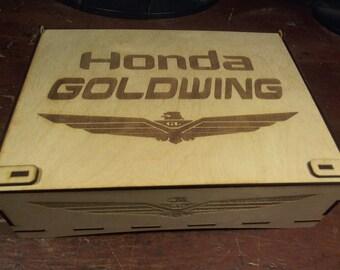 Laser cut wood box Honda Goldwing owner's manual storage trinket box with latch