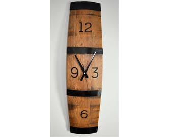 Barrel Stave Wall Clock. Made from retired oak wine barrel