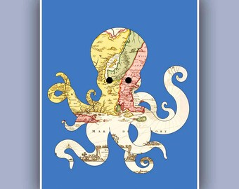 Nautical Octopus map Print Marine Wall Decor,  Nautical art, Coastal Decor antique est US map