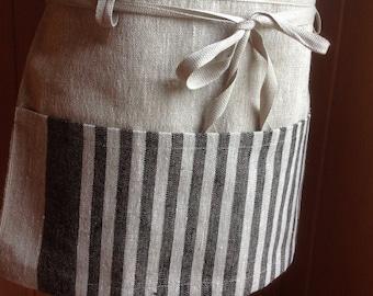 linen utility apron / gardening apron / half apron / teachers apron