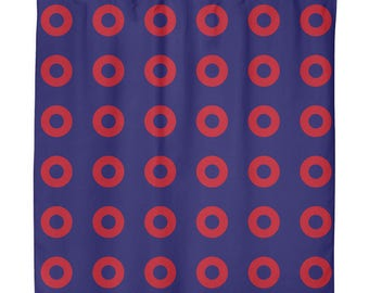 Phishman Red Circle LARGE Donuts Shower Curtain