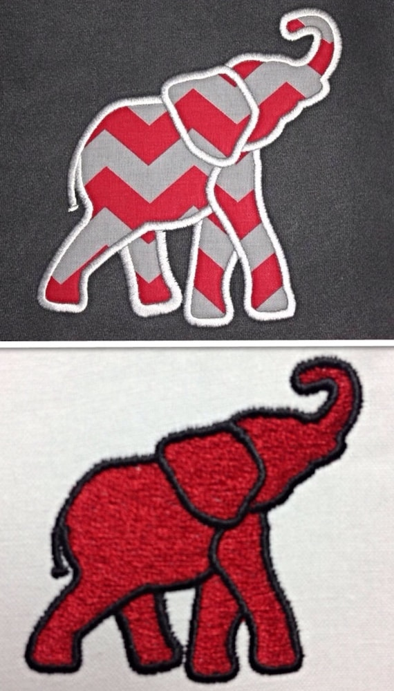 Elephant applique and fill stitch embroidery designs 2 for Embroidery office design version 9