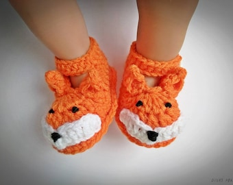 Baby Fox Shoes, Crochet Baby Fox Shoes,  Baby Fox Sandals, Crochet Shoes, Crochet Baby Shoes, Foxie Sandals, Baby Boy, Baby Girl