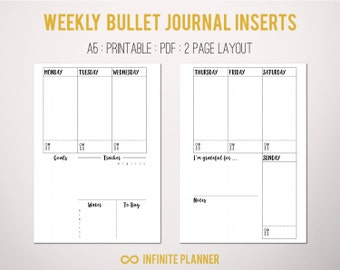 Cute page template 5 pages bullet journal printable a5 weekly layout on 2 pages bullet journal printable template maxwellsz