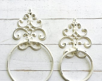 Shabby Chic Towel Ring, In Creamy Ivory  White, Towel Hanger,Heavy Cast Iron Towel Hook,Shabby Chic Bathroom Accessory,Fleur De Lis Design
