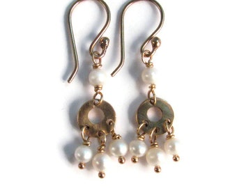 Freshwater Pearl Mini Chandelier Earrings in Bronze - White and Gold - Boho Chic Dangle Earrings - Modern Romance