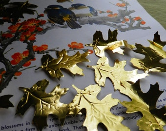 50 vintage gold foil paper leaves - embossed