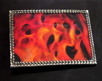 Fire Flaming Too Hot To Handle Buckle and Belt