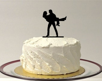 MADE In USA, Groom Holding Bride Silhouette Wedding Cake Topper Bride and Groom Dancing Silhouette Wedding Cake Topper Mrs Bride in Pants