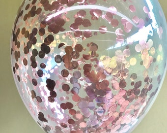 Rose Gold Confetti Balloons - Pack of 3 - Circle Metalllic Gold Confetti - 1st Birthday Wedding Engagement