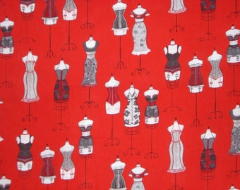 SPECIAL--Gray and Black on Red Fashion Dress Form Print from Robert Kaufman--BY THE  Yard
