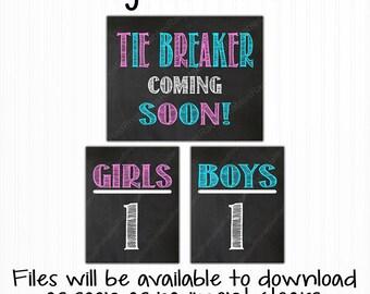 Tie Breaker Pregnancy Announcement Chalkboard Sign - Digital Files - Printable Chalkboards - Pregnancy Reveal - Girls vs Boys - Pink or Blue