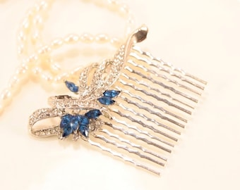 Sapphire Bridal Hair Comb Crystal Silver Blue Hair Comb Wedding Navy Blue Wedding Pageant Hairpiece Bridal Hair Piece Blue Wedding Jewelry