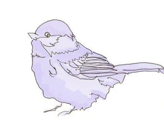 4 x 6 Kunstdruck - Vogel studieren 18 in Orange oder lila