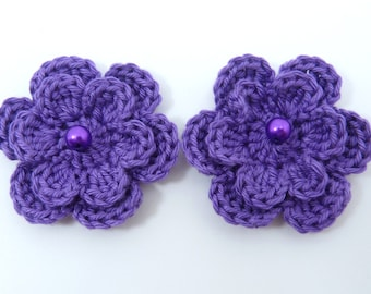 Crochet appliques, 2 purple two-layer crochet flowers, cardmaking, scrapbooking, appliques, handmade and sew on patches embellishments