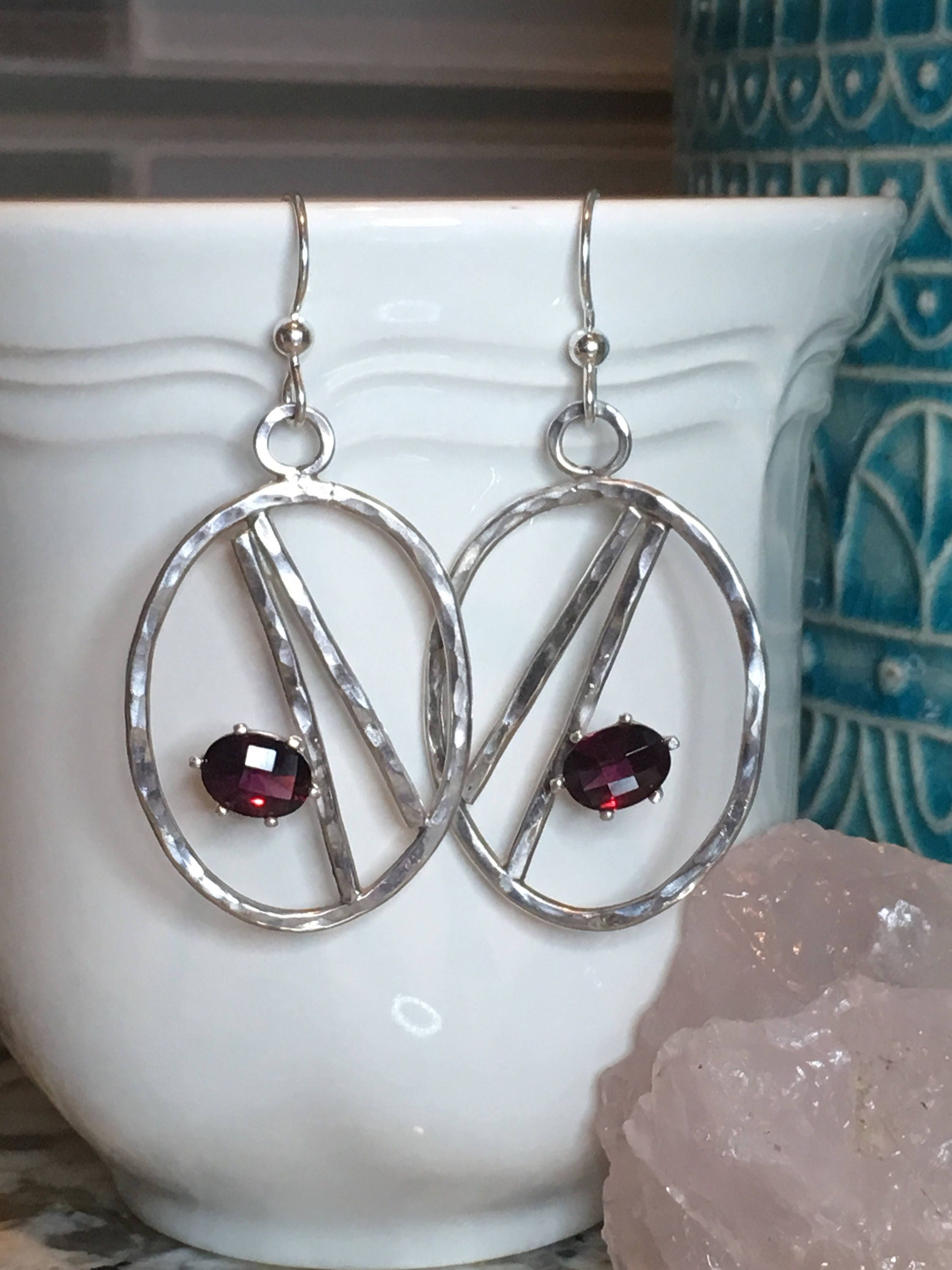 earrings garnet or products rose rhodolite gold costagli paolo