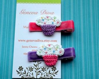 Set of 2 Crochet Cupcake Hairclips