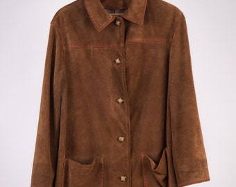 Suede Jacket 80 ' Gucci Style, Hand stitched in Red-Cod D38