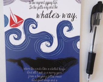 Sea Fever Poem verse 3 by John Masefield Inspired Greeting Card