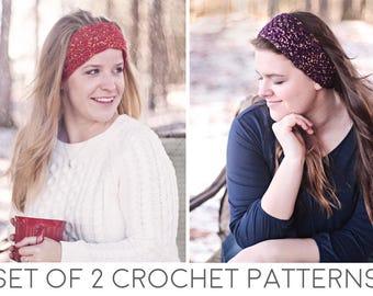 Ear Warmer Headband Crochet Patterns - Crochet Ear Warmers - Crochet Headband - Crochet Hair Accessories - Set of 2 Beginner Crochet Pattern