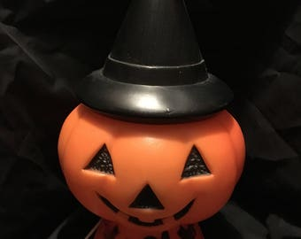 Vintage plastic countertop blow-mold lighted halloween pumpkin with witch hat 1960's 1970's 1980's blow-mold