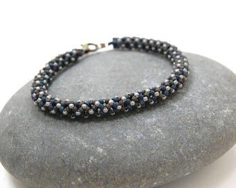 Beaded Bracelet, Herringbone Bracelet, Bangle, Beadwoven Bracelet, Gift for Her, Handmade Jewelry