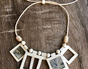 Wooden Necklace. Adjustable Necklace