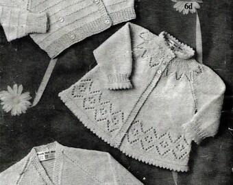 GREENOCK 401 Baby Matinee Coats Vintage Knitting Pattern