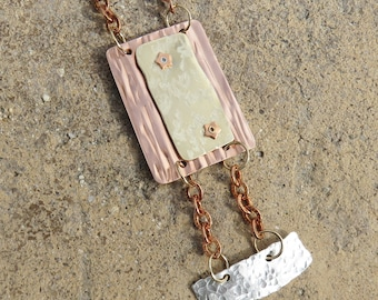 C-52 Textures and Colors Metalsmith Pendant Necklace, Copper Pendant, Brass Pendant, Sterling Silver Pendant, Mixed Metal Pendant