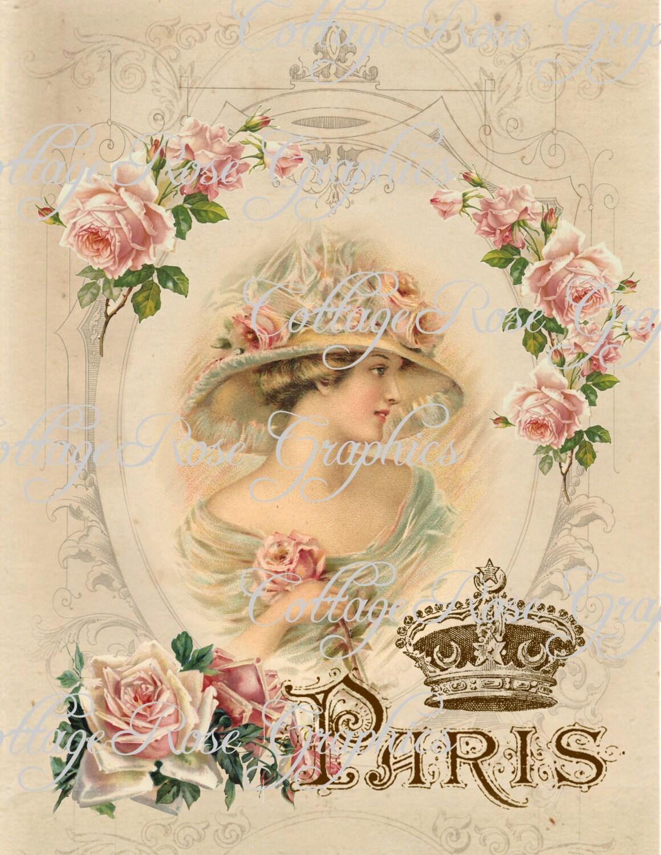 Large digital download charmed in paris french pink roses - Vintage bilder kostenlos ...
