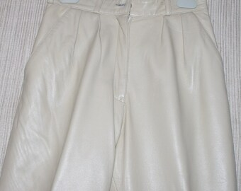 JAYSKINS Leather Beige Pleated Front Women'S pants Size 4