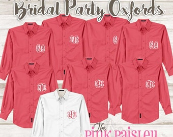 Oxford Bridal Party Shirt | Monogram Button Down Wedding Day Shirts | Getting Ready Shirts | Set of 8