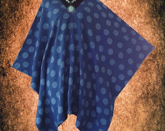Tradition Japanese V neck Cotton Casual Poncho Tunic Top blouse