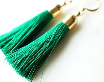Emerald Green Gold filigree Tassel modern earrings
