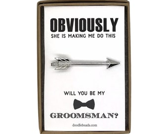 Groomsmen Proposal Gift, Silver or Gold Arrow Tie Bar with card - Obviously she is making me do this.. Will you be my Groomsman?  Best Man